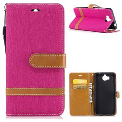 Jeans Cowboy Denim Leather Wallet Case for Huawei Y5 (2017) - Rose