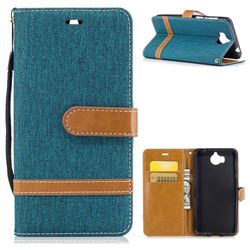 Jeans Cowboy Denim Leather Wallet Case for Huawei Y5 (2017) - Green
