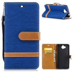 Jeans Cowboy Denim Leather Wallet Case for Huawei Y5 (2017) - Sapphire