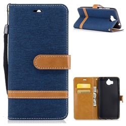 Jeans Cowboy Denim Leather Wallet Case for Huawei Y5 (2017) - Dark Blue