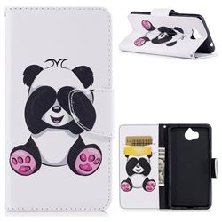 Lovely Panda Leather Wallet Case for Huawei Y5 (2017)