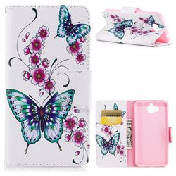 Peach Butterflies Leather Wallet Case for Huawei Y5 (2017)