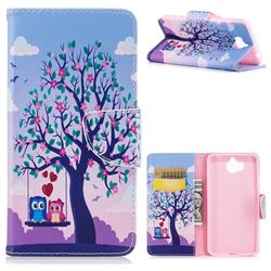 Tree and Owls Leather Wallet Case for Huawei Y5 (2017)