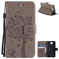 Embossing Butterfly Tree Leather Wallet Case for Huawei Y5 (2017) - Grey