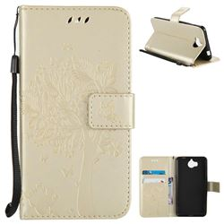 Embossing Butterfly Tree Leather Wallet Case for Huawei Y5 (2017) - Champagne