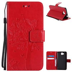 Embossing Butterfly Tree Leather Wallet Case for Huawei Y5 (2017) - Red