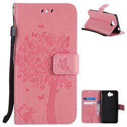 Embossing Butterfly Tree Leather Wallet Case for Huawei Y5 (2017) - Pink
