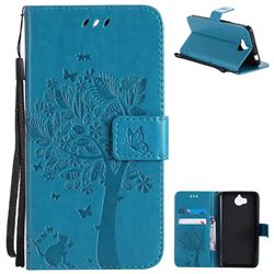 Embossing Butterfly Tree Leather Wallet Case for Huawei Y5 (2017) - Blue