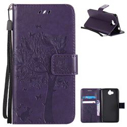 Embossing Butterfly Tree Leather Wallet Case for Huawei Y5 (2017) - Purple
