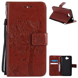 Embossing Butterfly Tree Leather Wallet Case for Huawei Y5 (2017) - Brown