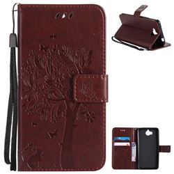 Embossing Butterfly Tree Leather Wallet Case for Huawei Y5 (2017) - Coffee
