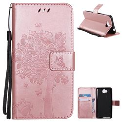 Embossing Butterfly Tree Leather Wallet Case for Huawei Y5 (2017) - Rose Pink