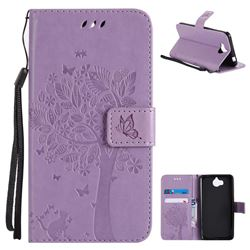 Embossing Butterfly Tree Leather Wallet Case for Huawei Y5 (2017) - Violet