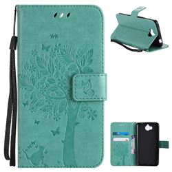 Embossing Butterfly Tree Leather Wallet Case for Huawei Y5 (2017) - Cyan
