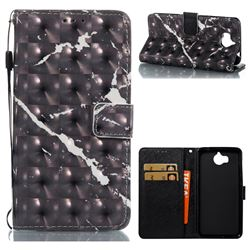 Black Marble 3D Painted Leather Wallet Case for Huawei Y5 (2017)
