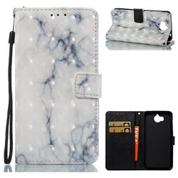 White Gray Marble 3D Painted Leather Wallet Case for Huawei Y5 (2017)