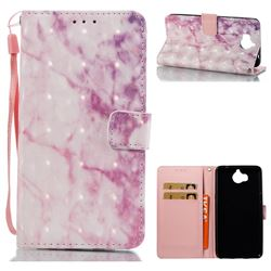 Pink Marble 3D Painted Leather Wallet Case for Huawei Y5 (2017)