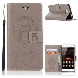 Intricate Embossing Owl Campanula Leather Wallet Case for Huawei Y5 (2017) - Grey