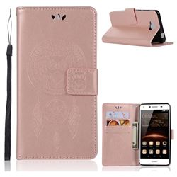 Intricate Embossing Owl Campanula Leather Wallet Case for Huawei Y5 (2017) - Rose Gold