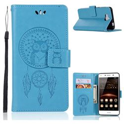 Intricate Embossing Owl Campanula Leather Wallet Case for Huawei Y5 (2017) - Blue