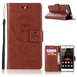 Intricate Embossing Owl Campanula Leather Wallet Case for Huawei Y5 (2017) - Brown