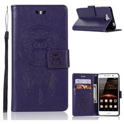Intricate Embossing Owl Campanula Leather Wallet Case for Huawei Y5 (2017) - Purple