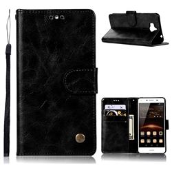 Luxury Retro Leather Wallet Case for Huawei Y5 (2017) - Black