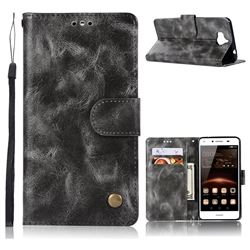 Luxury Retro Leather Wallet Case for Huawei Y5 (2017) - Gray