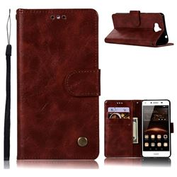 Luxury Retro Leather Wallet Case for Huawei Y5 (2017) - Wine Red