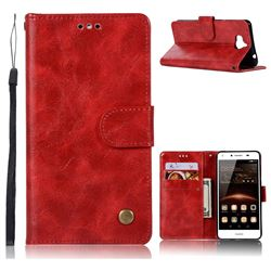 Luxury Retro Leather Wallet Case for Huawei Y5 (2017) - Red