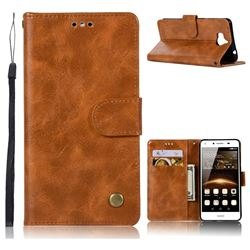 Luxury Retro Leather Wallet Case for Huawei Y5 (2017) - Golden