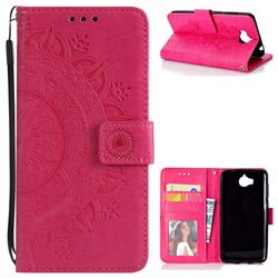 Intricate Embossing Datura Leather Wallet Case for Huawei Y5 (2017) - Rose Red