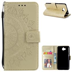 Intricate Embossing Datura Leather Wallet Case for Huawei Y5 (2017) - Golden