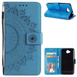 Intricate Embossing Datura Leather Wallet Case for Huawei Y5 (2017) - Blue