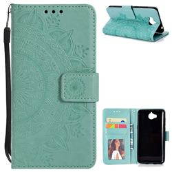 Intricate Embossing Datura Leather Wallet Case for Huawei Y5 (2017) - Mint Green