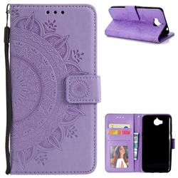 Intricate Embossing Datura Leather Wallet Case for Huawei Y5 (2017) - Purple