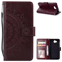 Intricate Embossing Datura Leather Wallet Case for Huawei Y5 (2017) - Brown
