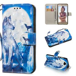 Ice Wolf 3D Painted Leather Wallet Phone Case for Huawei Y5 (2017)
