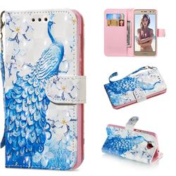Blue Peacock 3D Painted Leather Wallet Phone Case for Huawei Y5 (2017)