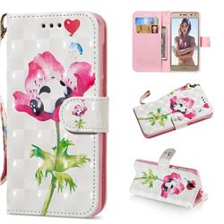 Flower Panda 3D Painted Leather Wallet Phone Case for Huawei Y5 (2017)