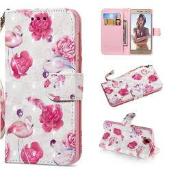 Flamingo 3D Painted Leather Wallet Phone Case for Huawei Y5 (2017)