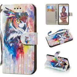 Watercolor Owl 3D Painted Leather Wallet Phone Case for Huawei Y5 (2017)