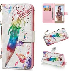 Music Pen 3D Painted Leather Wallet Phone Case for Huawei Y5 (2017)