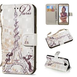 Tower Couple 3D Painted Leather Wallet Phone Case for Huawei Y5 (2017)