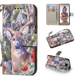 Elk Deer 3D Painted Leather Wallet Phone Case for Huawei Y5 (2017)
