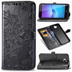 Embossing Imprint Mandala Flower Leather Wallet Case for Huawei Y5 (2017) - Black