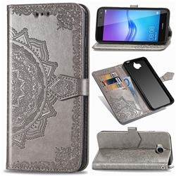 Embossing Imprint Mandala Flower Leather Wallet Case for Huawei Y5 (2017) - Gray