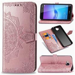Embossing Imprint Mandala Flower Leather Wallet Case for Huawei Y5 (2017) - Rose Gold