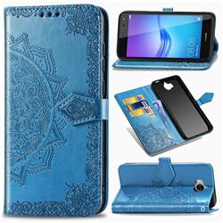 Embossing Imprint Mandala Flower Leather Wallet Case for Huawei Y5 (2017) - Blue
