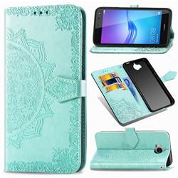 Embossing Imprint Mandala Flower Leather Wallet Case for Huawei Y5 (2017) - Green